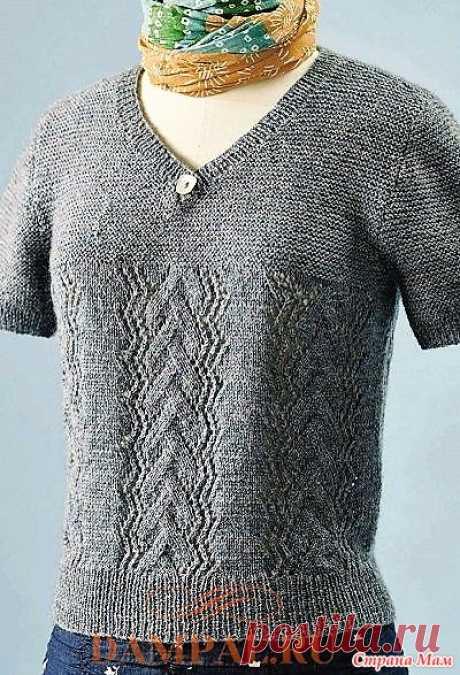 Летний пуловер «St Ninian's Isle». Спицы. Летний пуловер носит название небольшого островка у западного побережья Шетлендских островов, где находятся развалины часовни, посвящённой святому Ниниану.  Размеры: