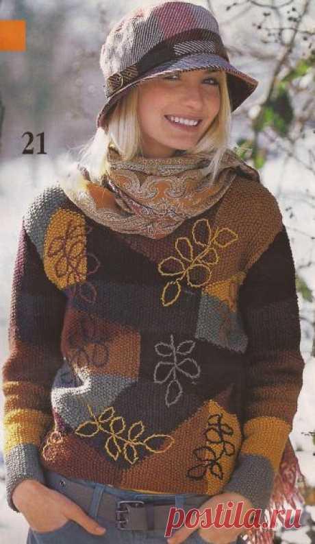 Пуловер с разноцветными вставками Еще одна идея для утилизации остатков пряжи.