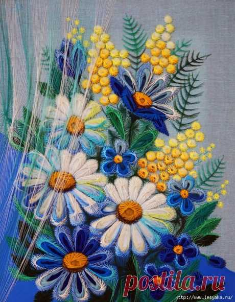 Восхитительные вышитые картины из нитей от Людмилы Сашко!