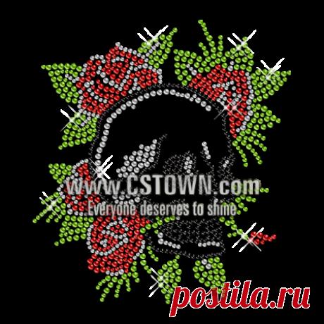 Crystal Roses Skull Deisgn Rhinestone Iron on Transfer - CSTOWN