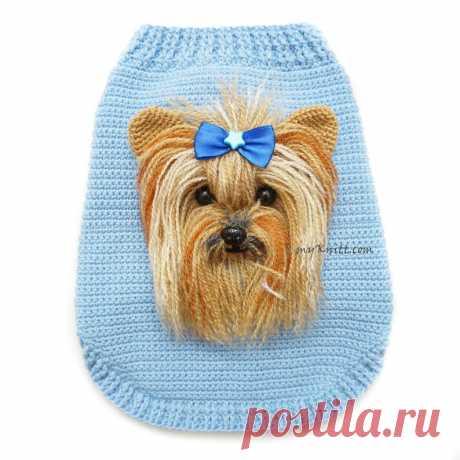 Йоркшир Селфи Собака Свитер Крючком Baby Blue Одежда Для Собак | Etsy