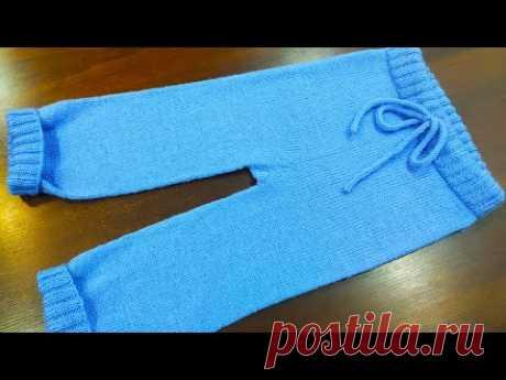 Штанишки для мальчика на 2 года.Подробный МК Детские штанишки спицами. Штанишки для девочки спицами.