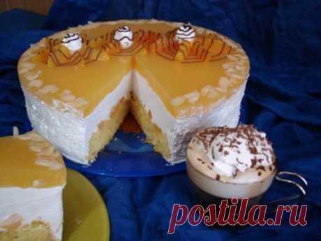 """""""Эдэм"""" сливочно-творожный торт с персиками"""