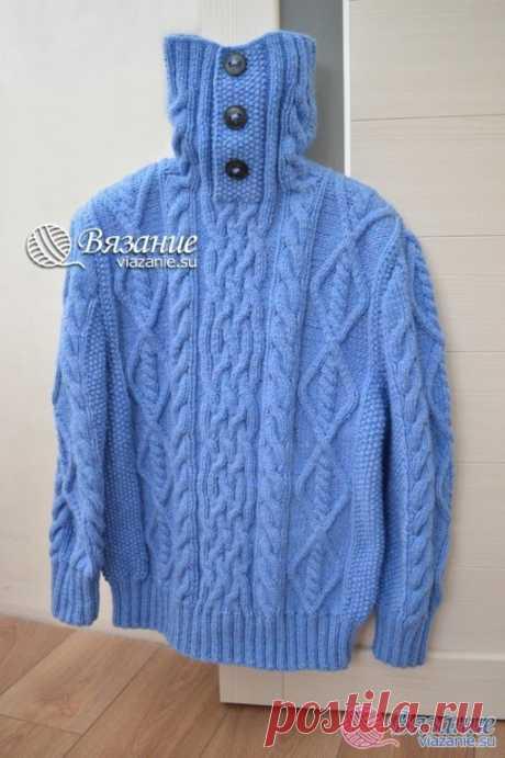 Теплый мужской свитер Вяжем спицами
