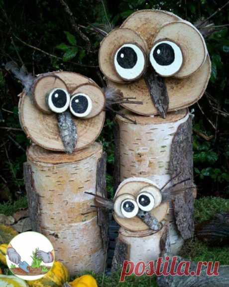 Неповторимые изделия из спилов дерева для дачи и сада.   #идеи