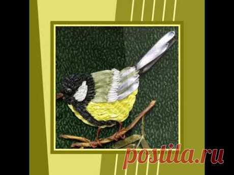 Вышивка лентами - птицы