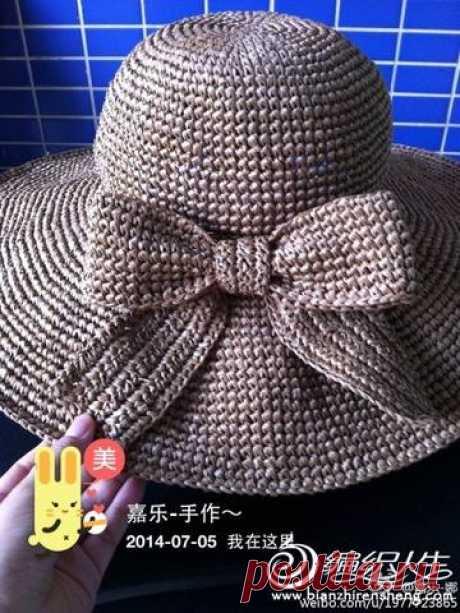 Шапки и шляпки крючком - Шляпка с бантом крючком
