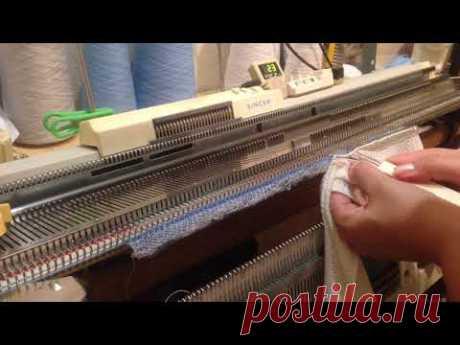 Обработка горловины на однофонтурной вязальной машине