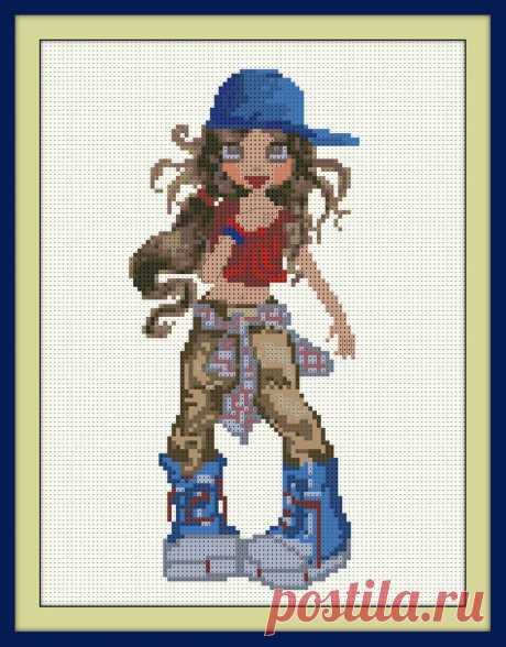 Big-eyed Naughty Girl Cross Stitch Pattern PDF Embroidery | Etsy