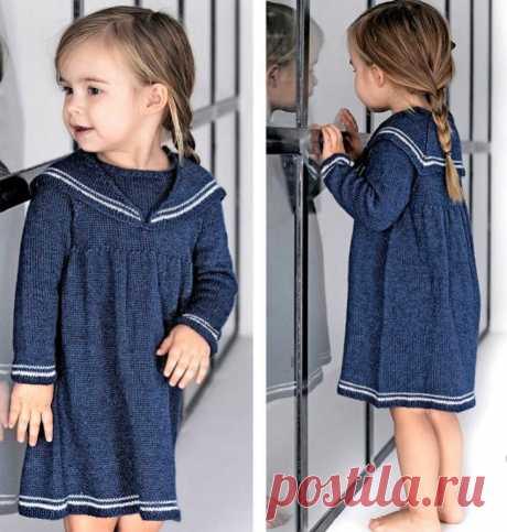 Платье с матросским воротничком (выкройка+описание вязания) Модная одежда и дизайн интерьера своими руками