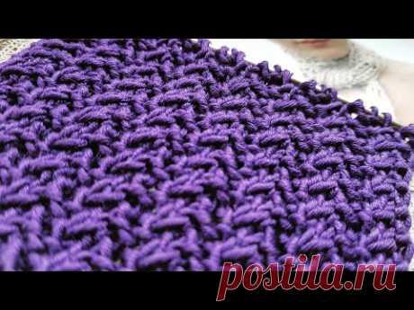 Вяжем стильный фоновый узор спицами 🍒 knitting pattern.