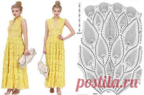 Вечернее платье крючком узором Ананас – 7 моделей со схемами и описанием
