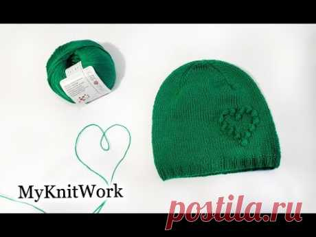 Cap with a heart. Knitting by spokes. Tutorial.