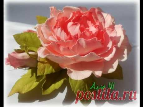 МК Цветы из фоамирана. Брошь-заколка с розой и бутонами.