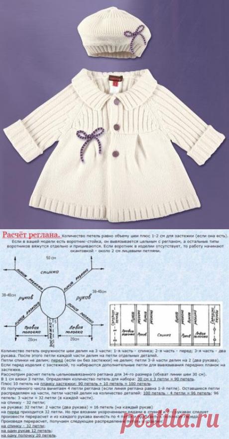 Детское пальто спицами — Попкорн — детское вязание спицами и крючком