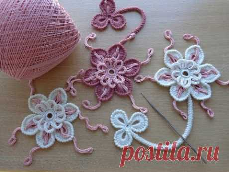 Knitting lessons - the Flower a hook - the Irish lace - Flower for Irish lace - How to crochet flower