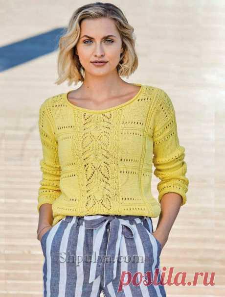 Желтый пуловер с сочетанием узоров — Shpulya.com - схемы с описанием для вязания спицами и крючком