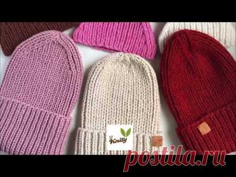 Как связать спицами красивую шапку резинку для начинающих