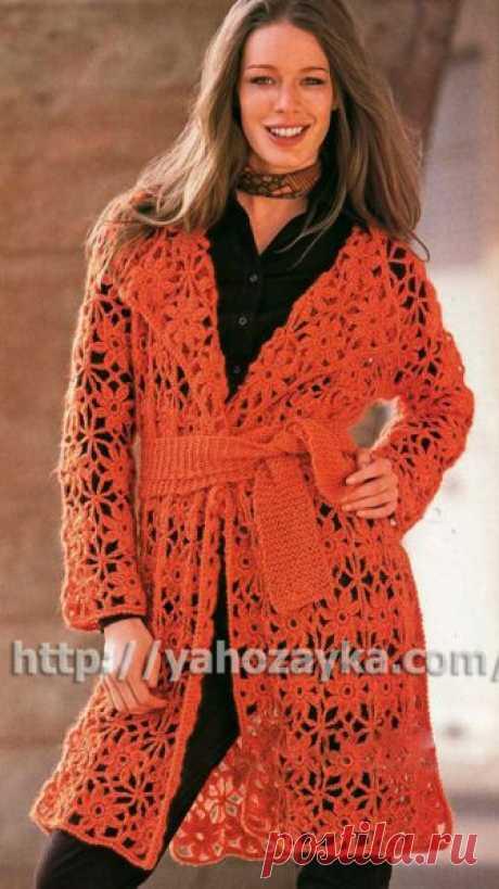 Пальто из кружевных мотивов - схема вязания + фото и описание Схема вязания крючком пальто из кружевных мотивов - вязание для домохозяек.