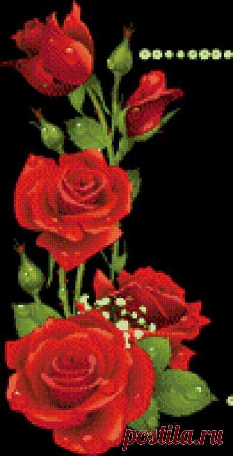 Схема вышивки «Розы на черном» - Вышивка крестом