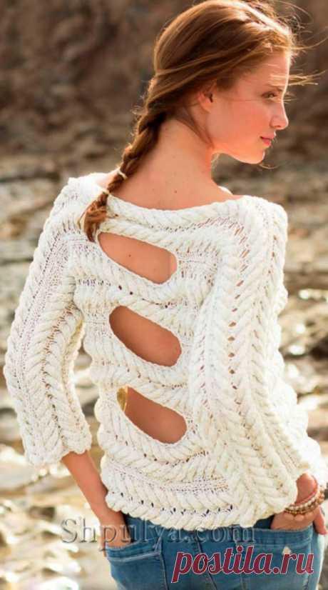 Пуловер с узором из кос и вырезами на спине - SHPULYA.com