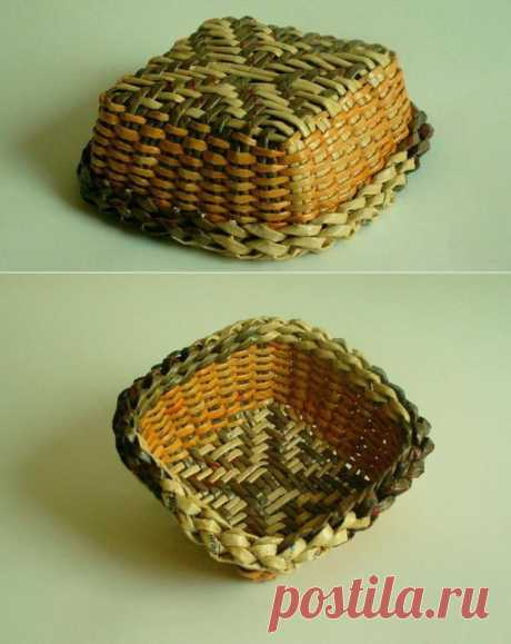 The simple scheme of weaving of a bottom of a basket from newspaper tubules | Ladiesvenue