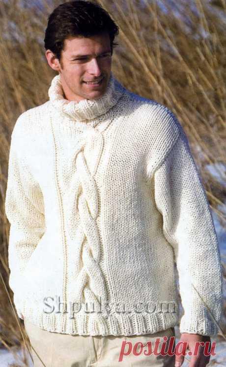 Белый мужской пуловер с косой, вязаный спицами - SHPULYA.com