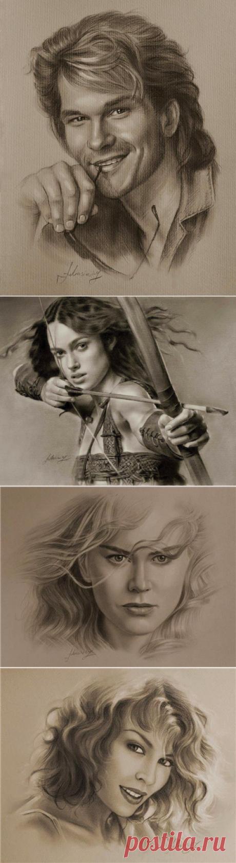 Карандашные рисунки знаменитостей польского художника Кшиштофа Люкашевича