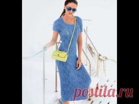 Изумительной красоты летнее ажурное платье, связанное спицами.
