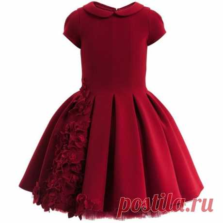 (2) Red Neoprene Couture Dress with Flowers