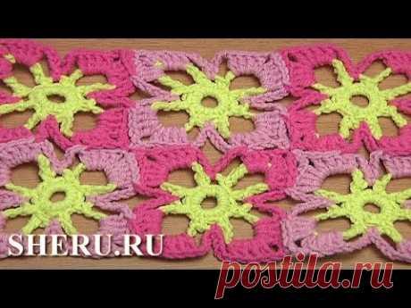 Joining Square Floral Motifs Урок 40 часть 2 из 2 Яркий и простой цветочный мотив