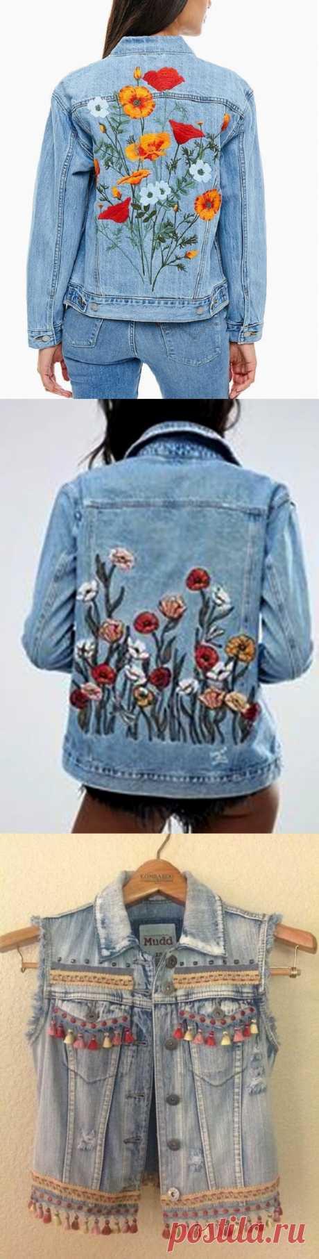 Идеи вышивки джинсовой куртки