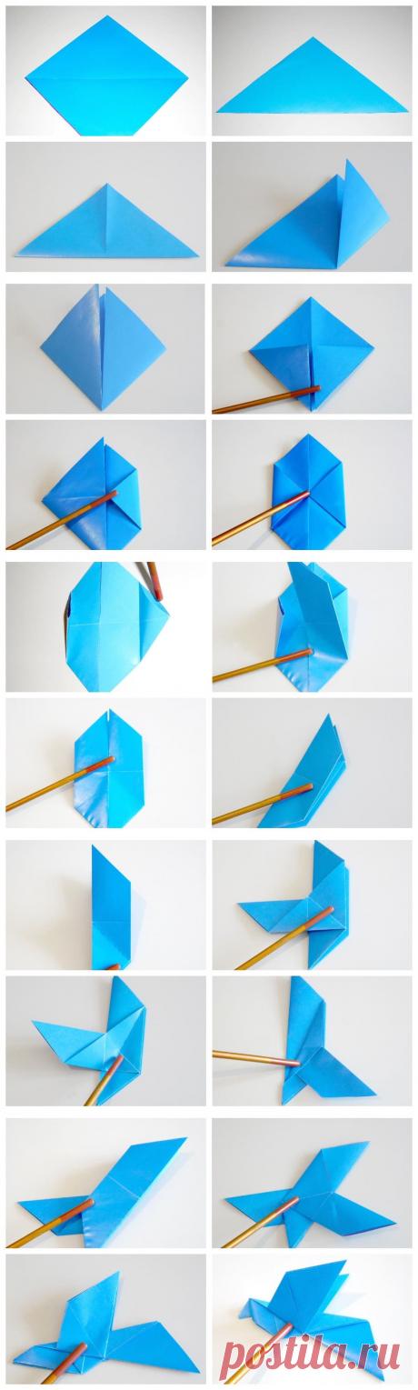 Как сделать голубя из бумаги — пошаговая инструкция с фото