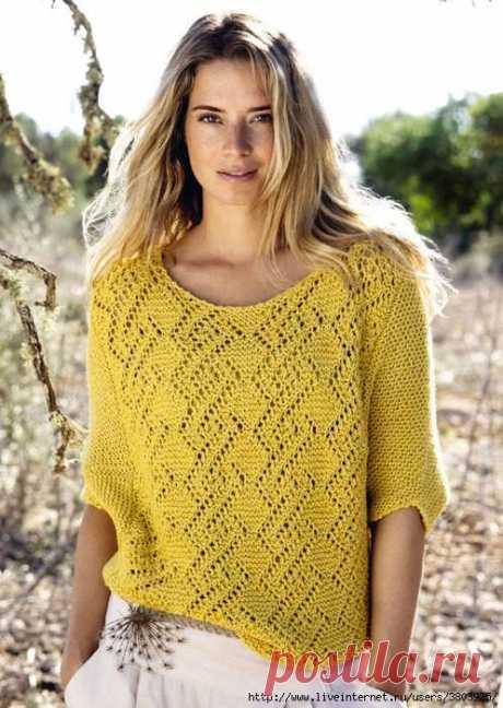 Ажурный пуловер спицами - эффектно и довольно просто!