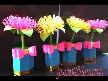 Сделать Подарок Маме Учителю Бабушке /Поделки Бумаги Цветы в Горшке Своими Руками на День рождения
