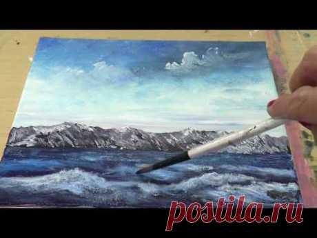 Небо и волны губкой. Акрил, зимний пейзаж. Using sponge for painting the sky and waves. Acrylic
