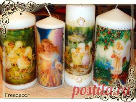 Декупаж свечей - Ярмарка Мастеров - ручная работа, handmade