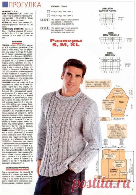 МК по вязанию спицами мужского свитера крупной вязки с объемной косой с подробным описанием и схемой