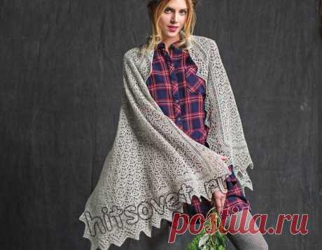 Кружевная шаль - Хитсовет Красивая кружевная шаль из шерсти со схемами и пошаговым описанием вязания спицами.