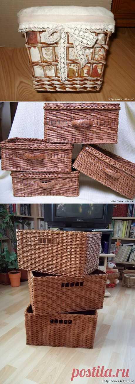 Плетение из газет. Прямоугольные корзинки. Мастер-класс.