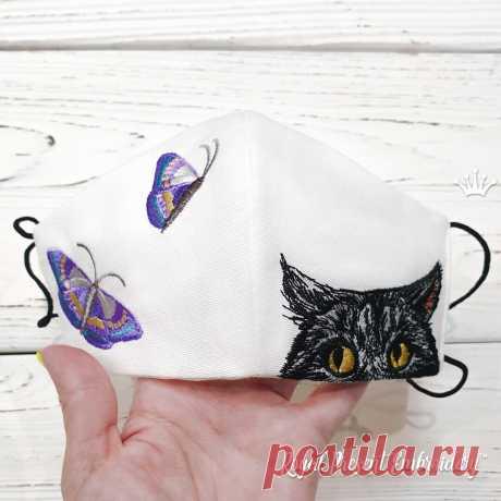 Кот и бабочки Маска для Лица Дизайн Машинной Вышивки