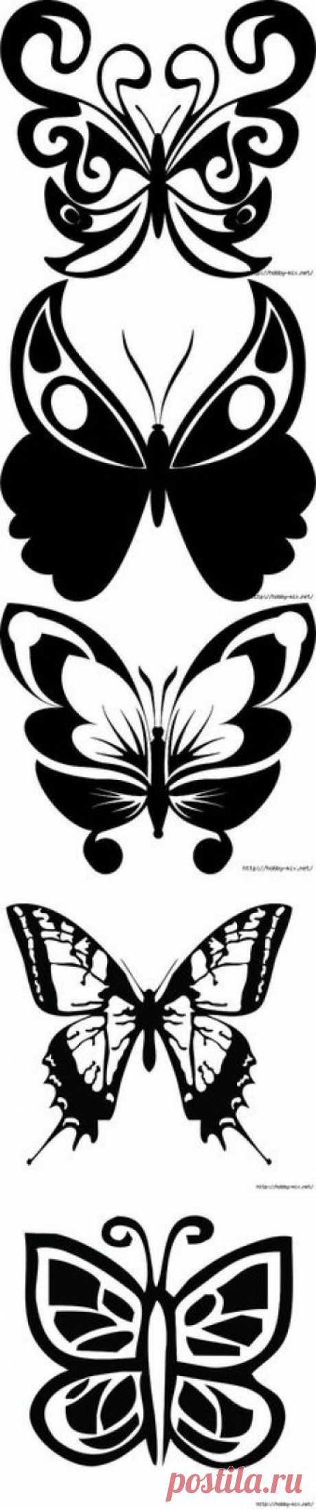 Красивые бабочки. Трафарет. | трафареты, шаблоны | Постила