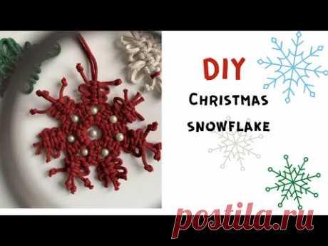 DIY Macrame snowflake - YouTube