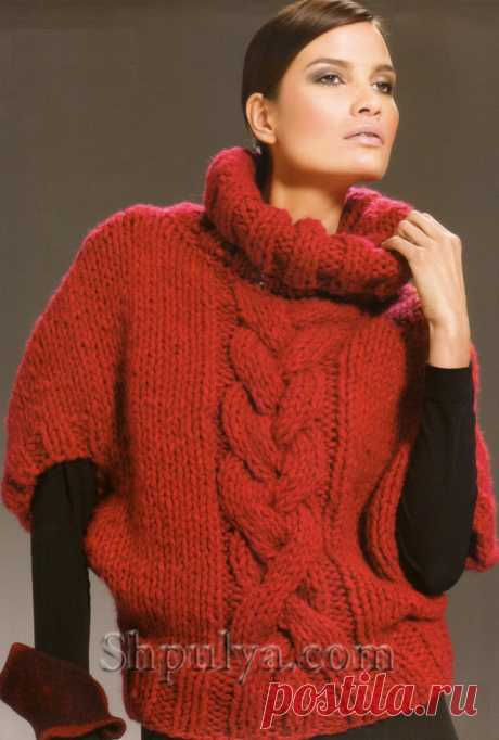 www.SHPULYA.com - Красный пуловер из толстой пряжи