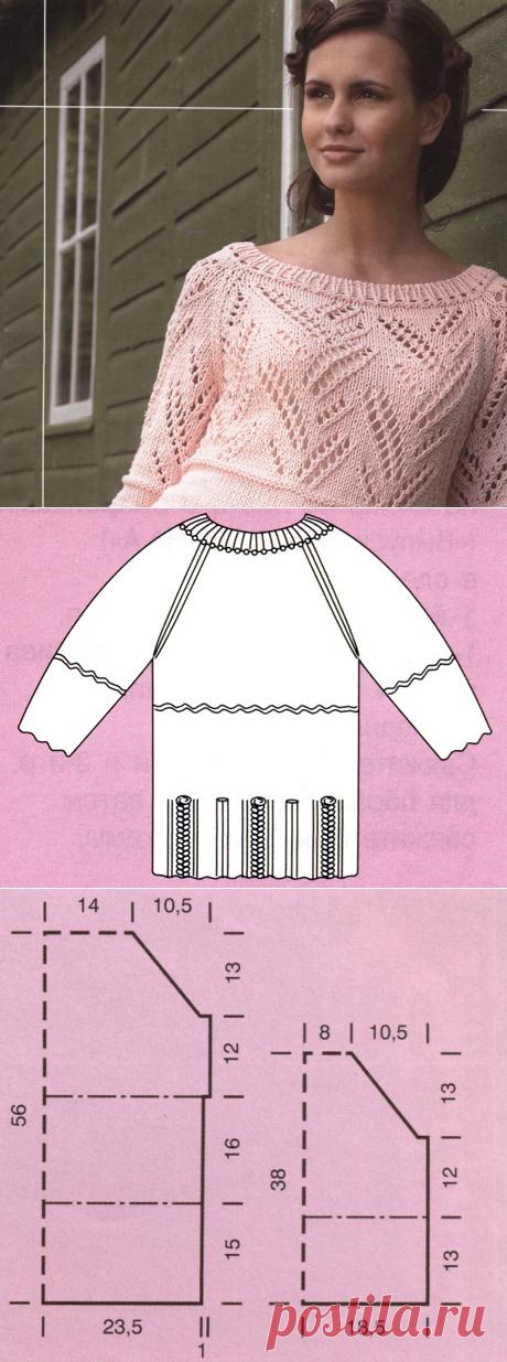 Ажурный свитер спицами с круглой горловиной