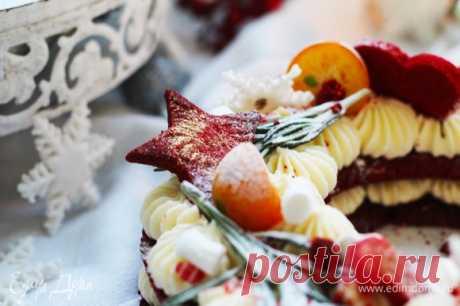Торт «Новогодний венок». Ингредиенты: сливочное масло, сахарная пудра, яйца куриные