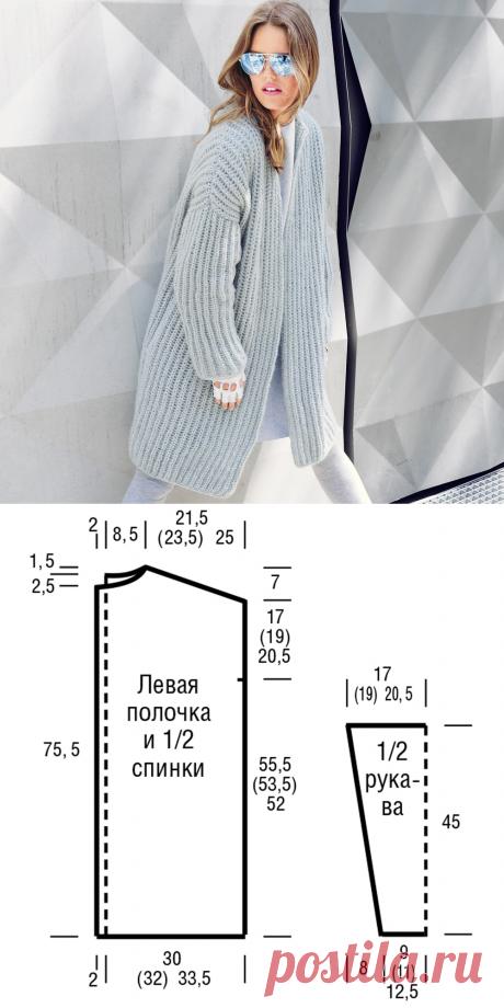 Как связать стильное пальто на спицах | Рукоделие