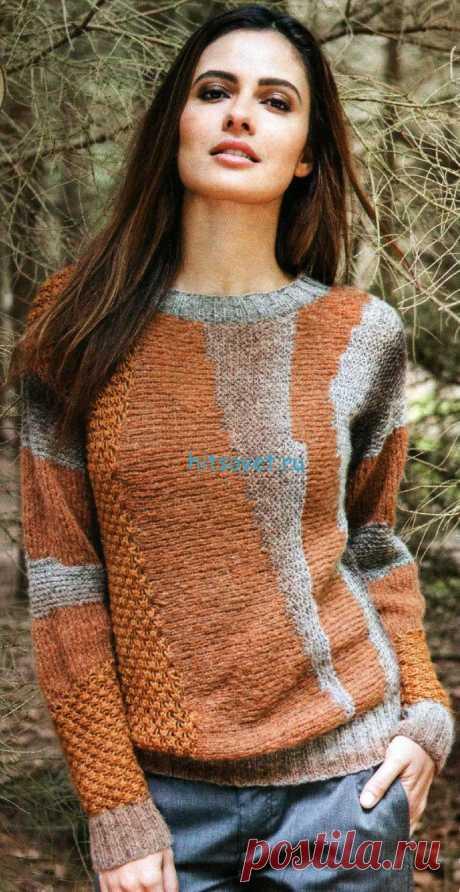 Вязание пуловера поперек - Хитсовет Вязание пуловера поперек. Вам потребуется: 200 г коричневой/бежевой/чёрной (цв. 108) пряжи Lana Grossa ALTA MODA FINE DEGRADE (70% альпака, 25% шерсти, 5% полиамида, 160 м/25 г); 100 г коньячной (цв. 47) пряжи EVENT0 (65% хлопка, 35% шерсти, 160 м/50 г); 100 г коричневой меланжевой (цв. 19) пряжи WOOL-HAIR (55% шерсти, 30% мохера, 15% полиамида, 200 м/50 г); прямые спицы № 4 и № 5; круговые спицы № 4.