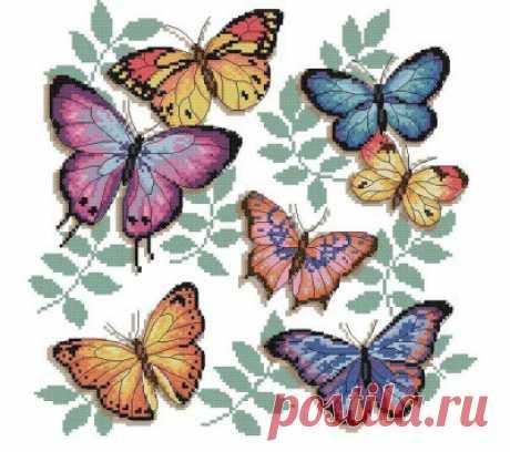 Вышивка бабочки крестиком. Bordado de la cruz de la mariposa | Домоводство для всей семьи.