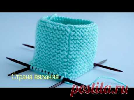 Незаметный стык рядов в платочной вязке по кругу. Invisible seam of rows in garter stitch.